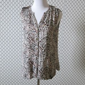 Daniel Rainn Animal Print Sleeveless Top Blouse S